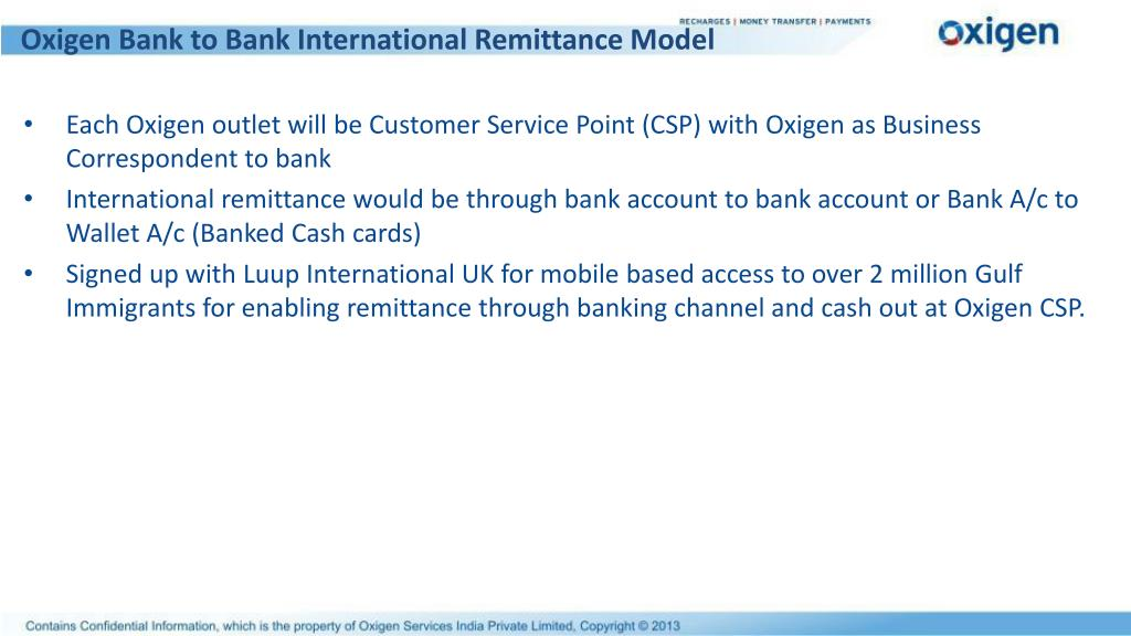 Oxigen Bank to Bank International Remittance Model