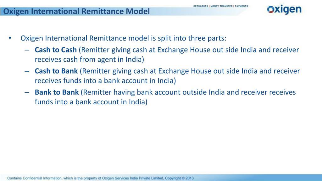Oxigen International Remittance Model
