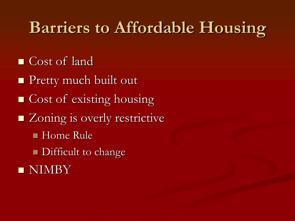 Barriers to Affordable Housing