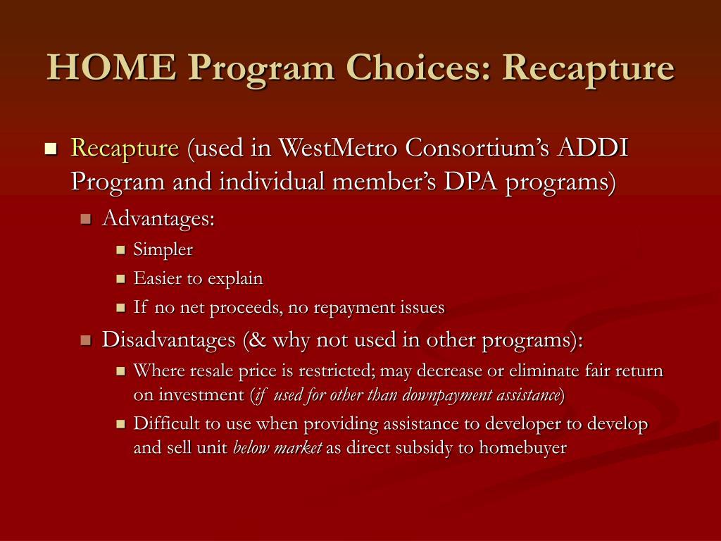 HOME Program Choices: Recapture
