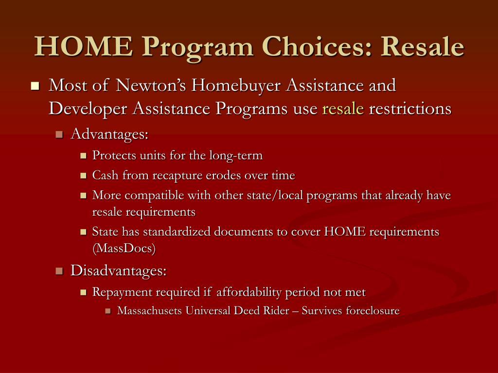 HOME Program Choices: Resale