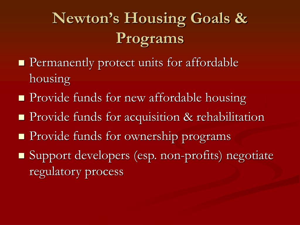 Newton's Housing Goals & Programs