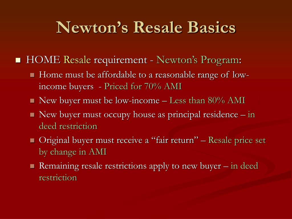 Newton's Resale Basics