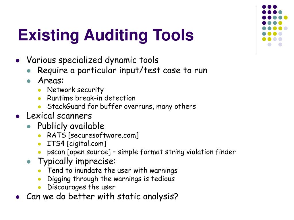 Existing Auditing Tools