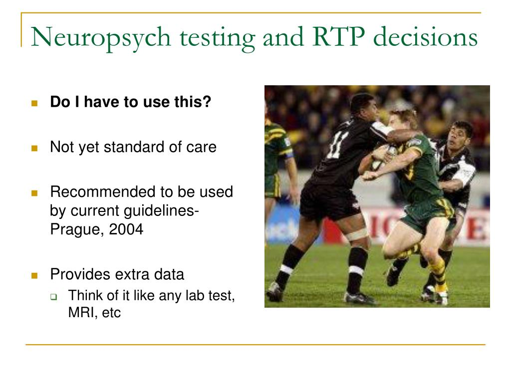 Neuropsych testing and RTP decisions