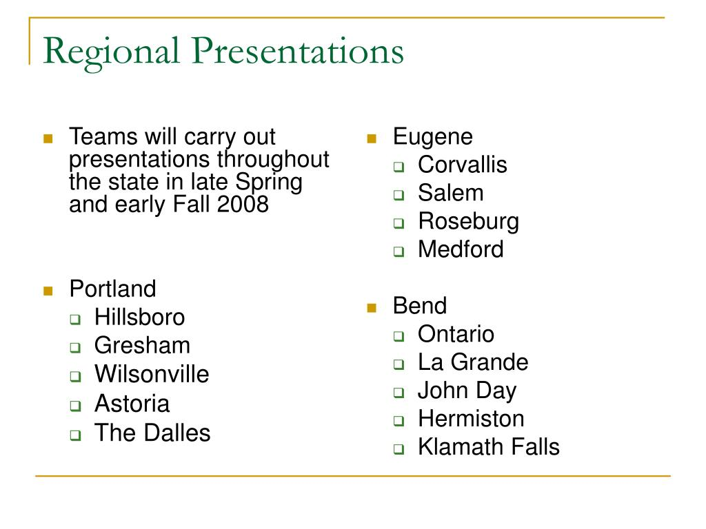 Teams will carry out presentations throughout the state in late Spring and early Fall 2008