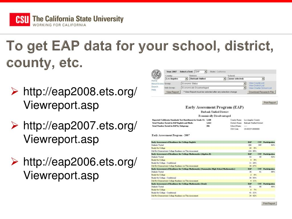 To get EAP data for your school, district,