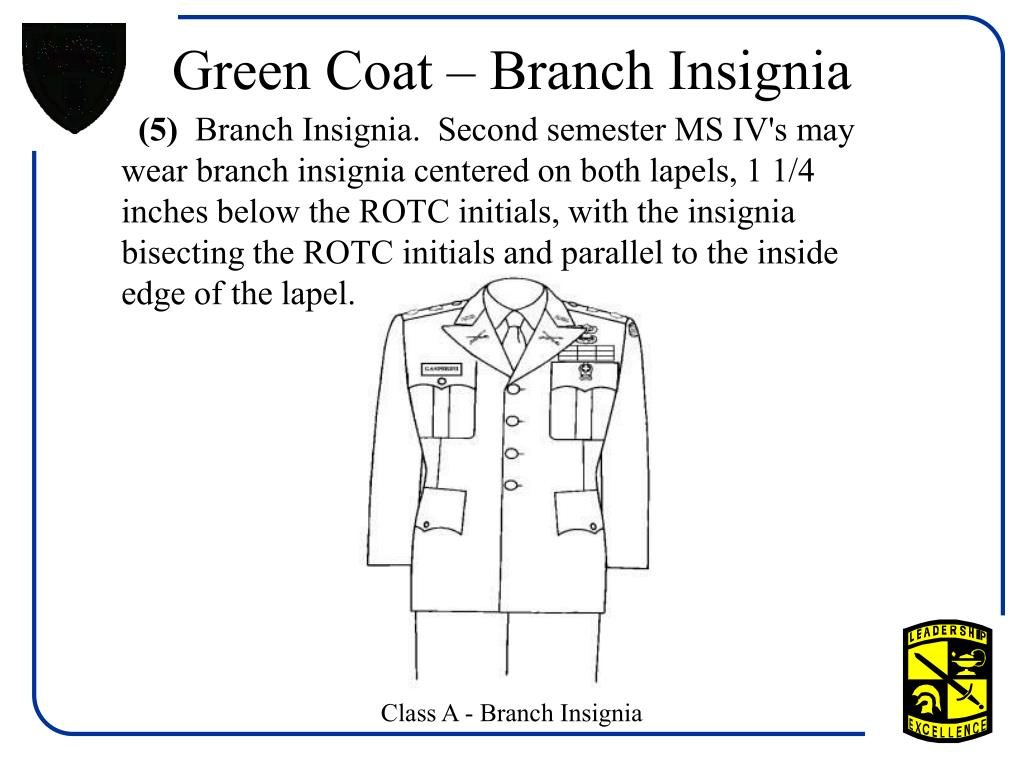 Green Coat – Branch Insignia