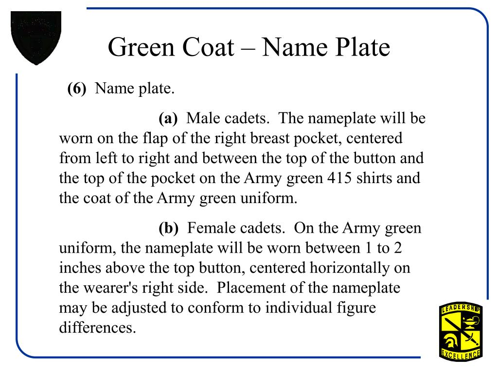 Green Coat – Name Plate