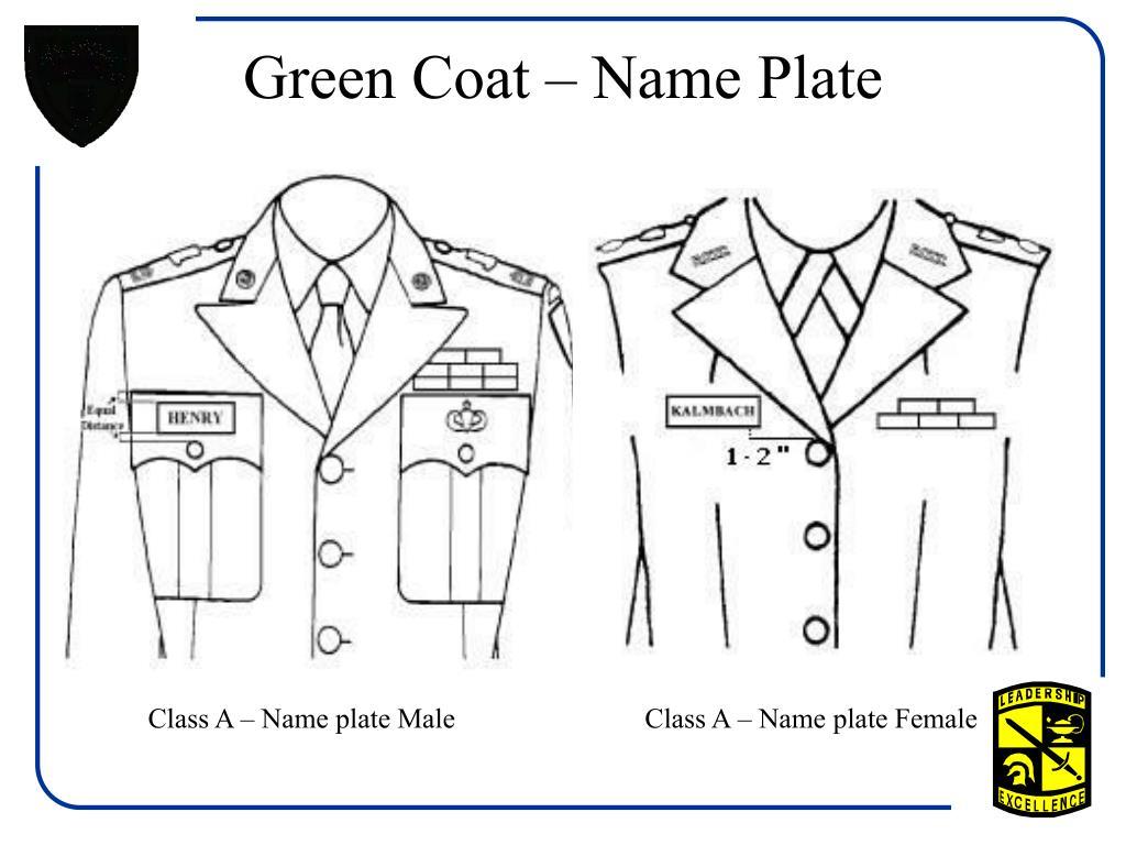 Green Coat – Name Plate