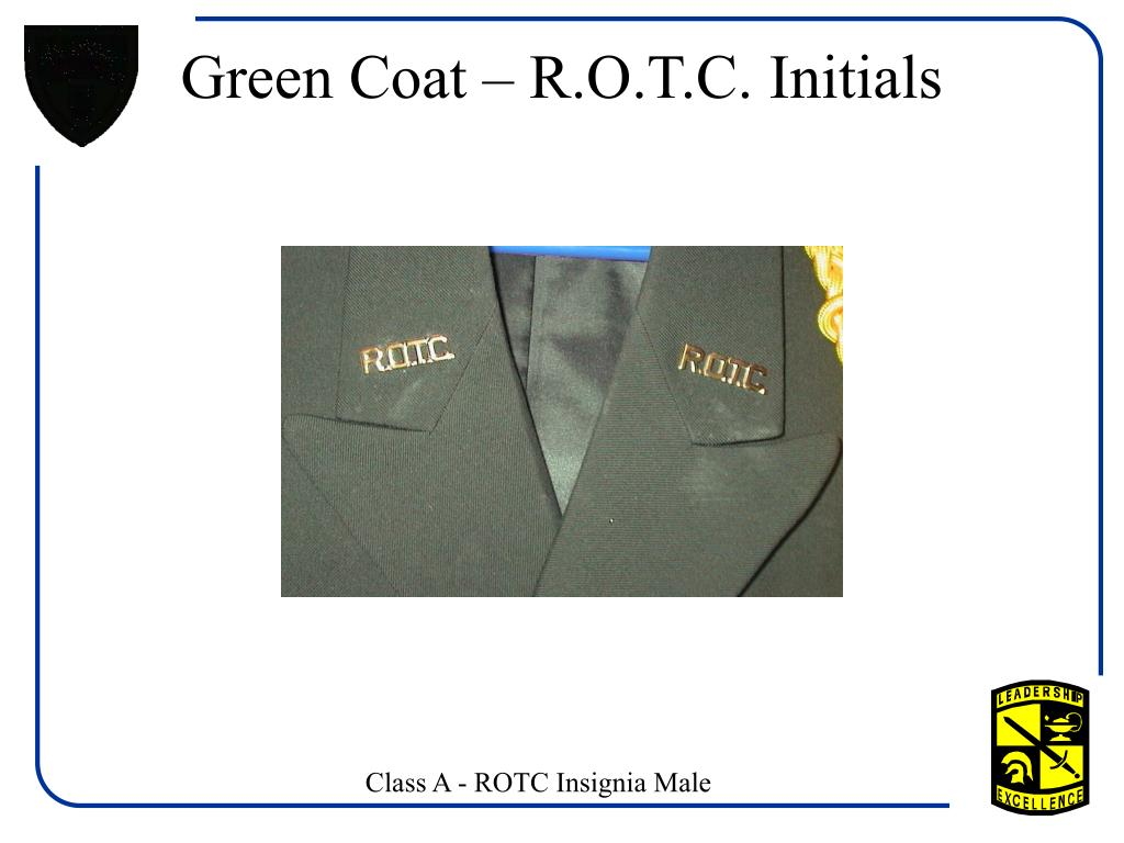 Green Coat – R.O.T.C. Initials