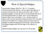 wear of special badges