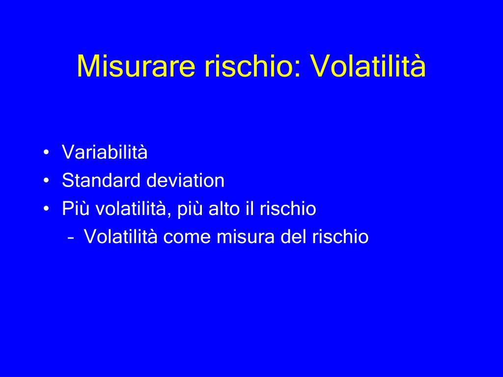Misurare rischio: Volatilità
