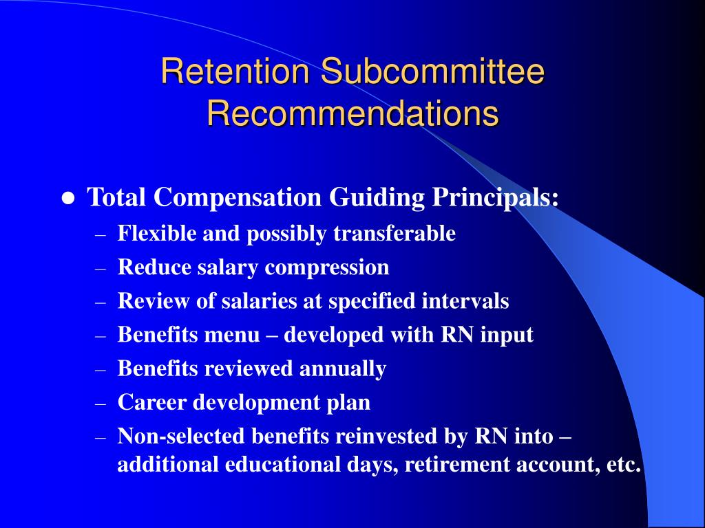 Retention Subcommittee Recommendations
