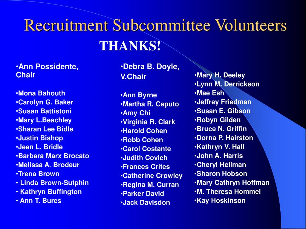 Recruitment Subcommittee Volunteers