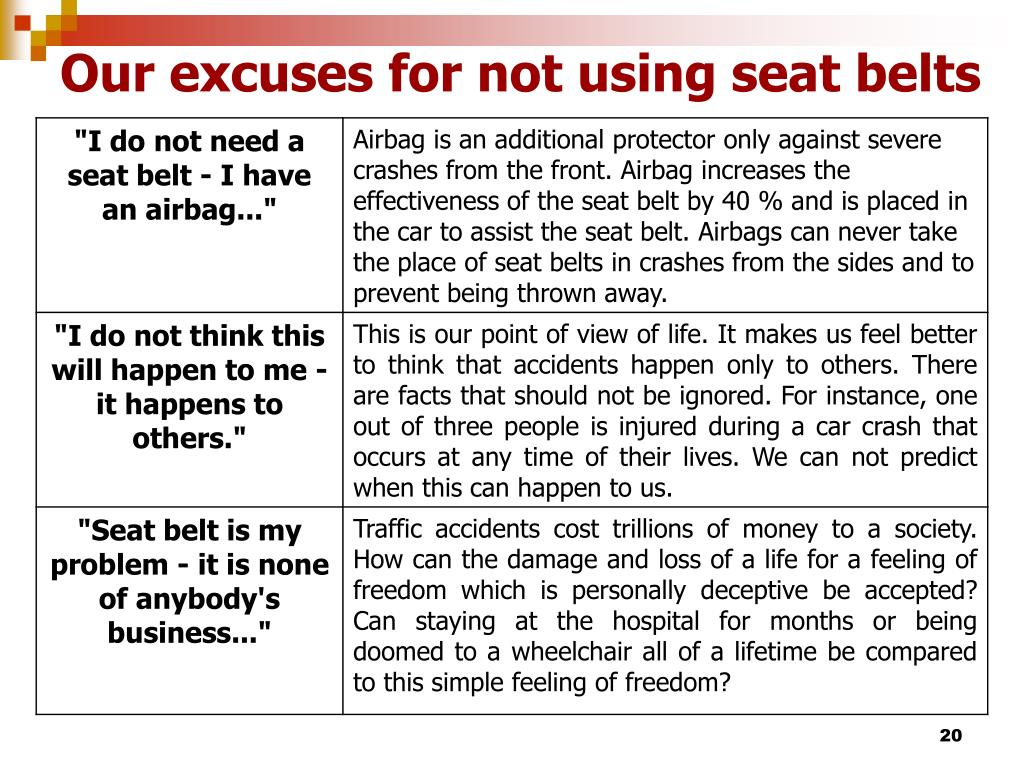 Our excuses for not using seat belts