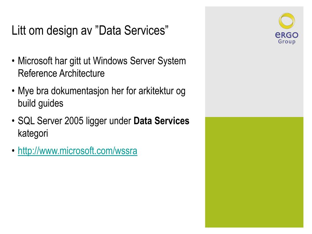 """Litt om design av """"Data Services"""""""