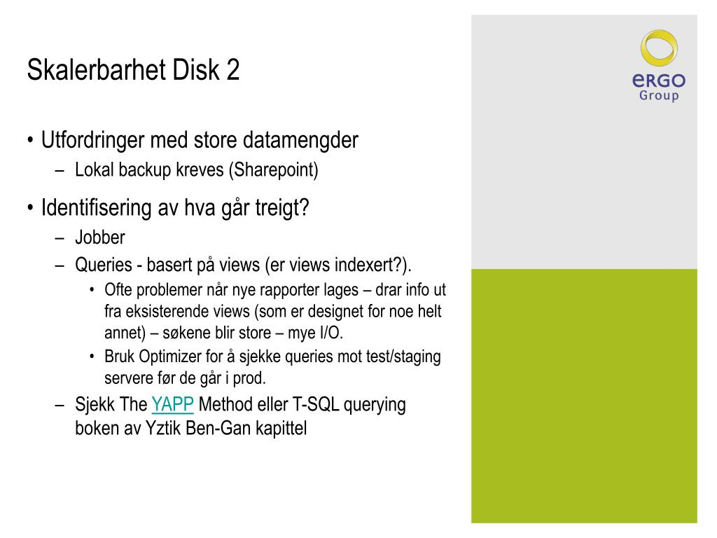 Skalerbarhet Disk 2