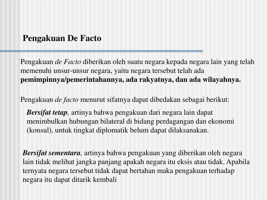 Pengakuan De Facto