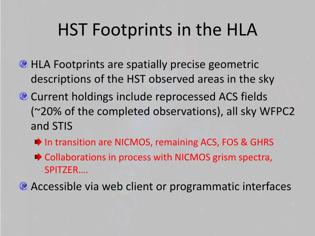 HST Footprints in the HLA