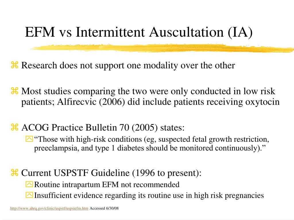 EFM vs Intermittent Auscultation (IA)