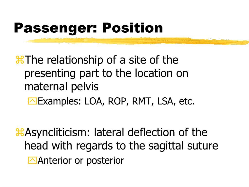 Passenger: Position
