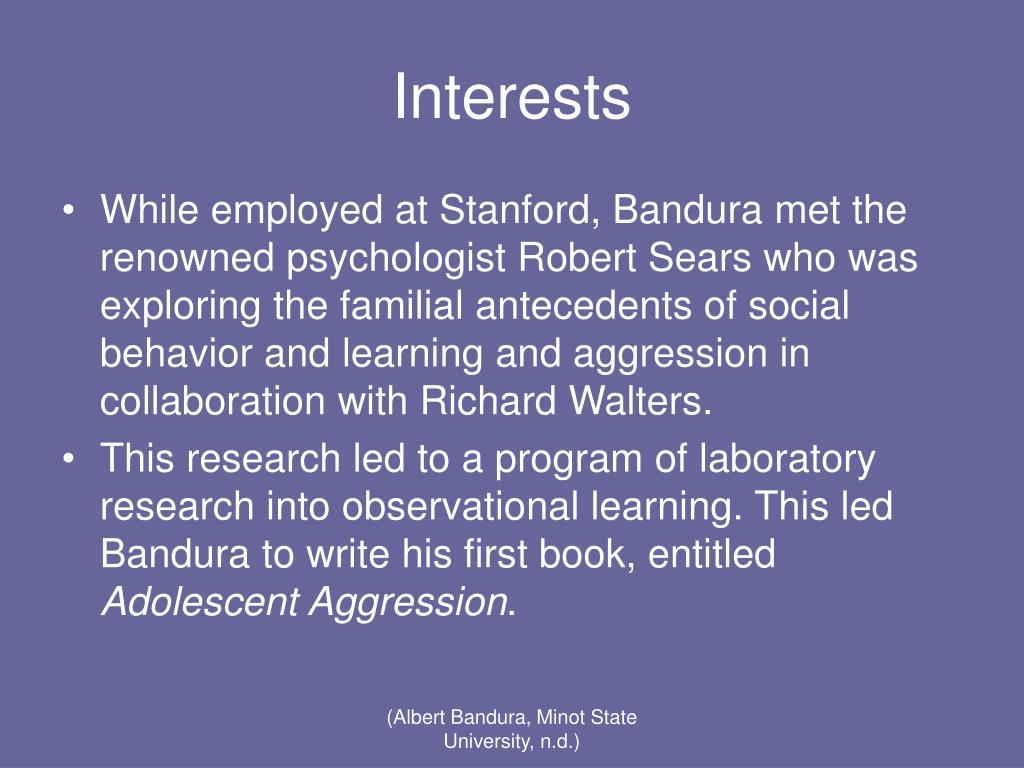 bandura familial antecedents of social behavior Albert bandura oc (/bænˈdʊərə bandura was initially influenced by robert sears' work on familial antecedents of social behavior and identificatory learning he directed his initial research to the role of social modeling in human motivation.