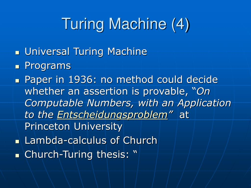 church thesis in turing machine I remember, back when i was working on my computer science degree, studying  about turing machines and the church-turing thesis in my.