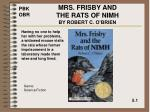 mrs frisby and the rats of nimh by robert c o brien