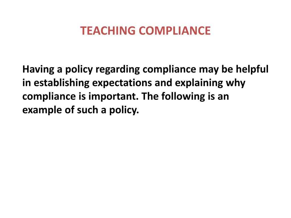 TEACHING COMPLIANCE