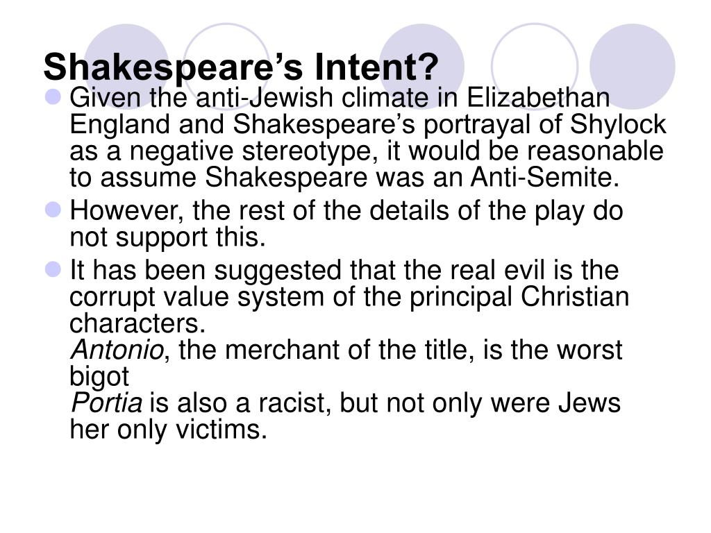 Shakespeare's Intent?