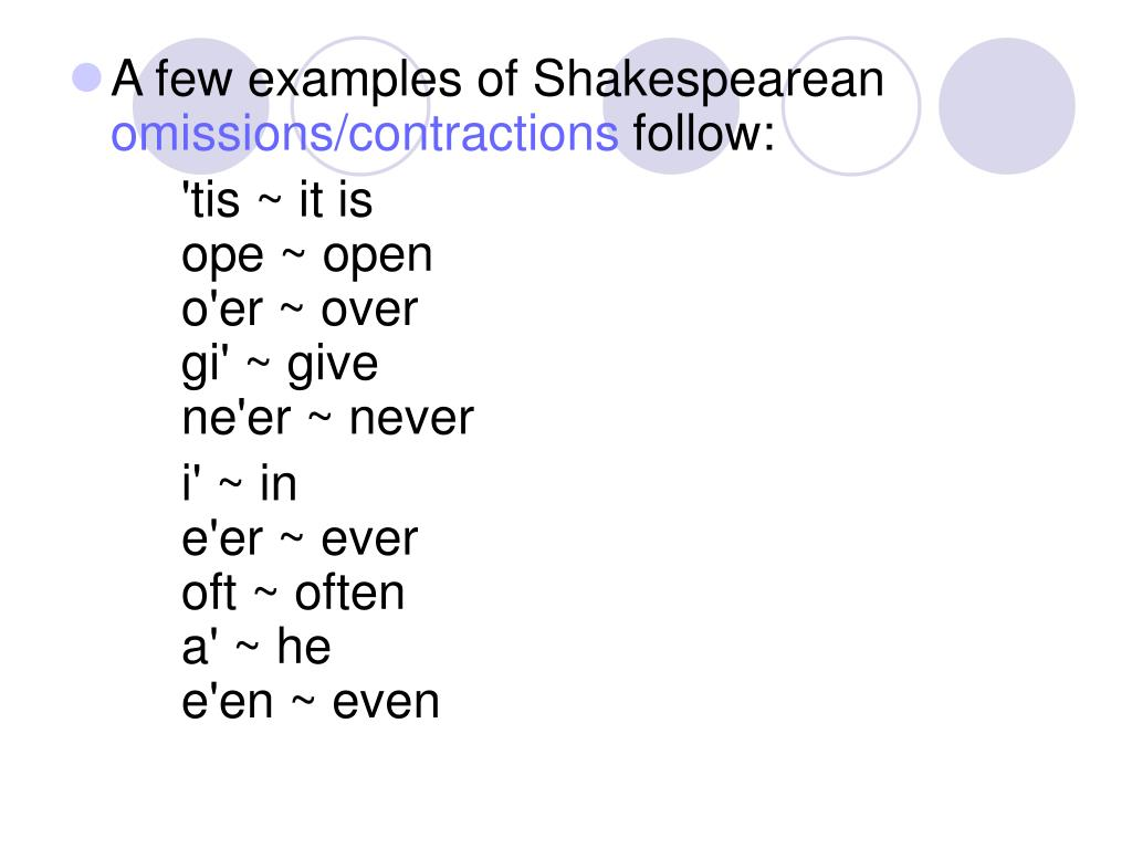 A few examples of Shakespearean
