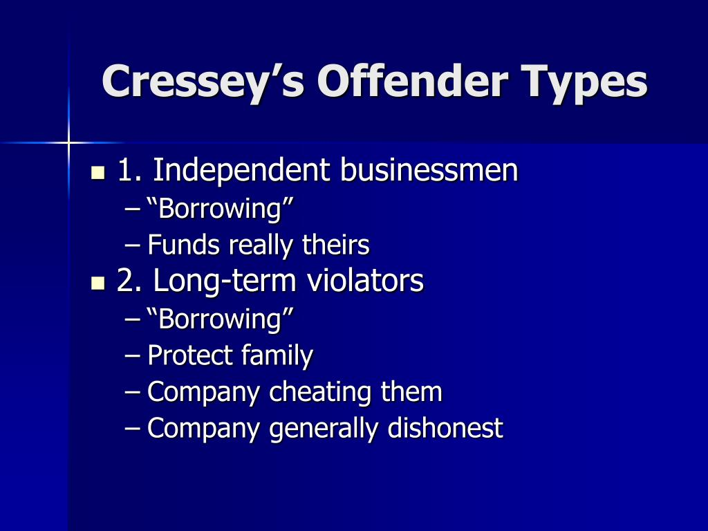 Cressey's Offender Types