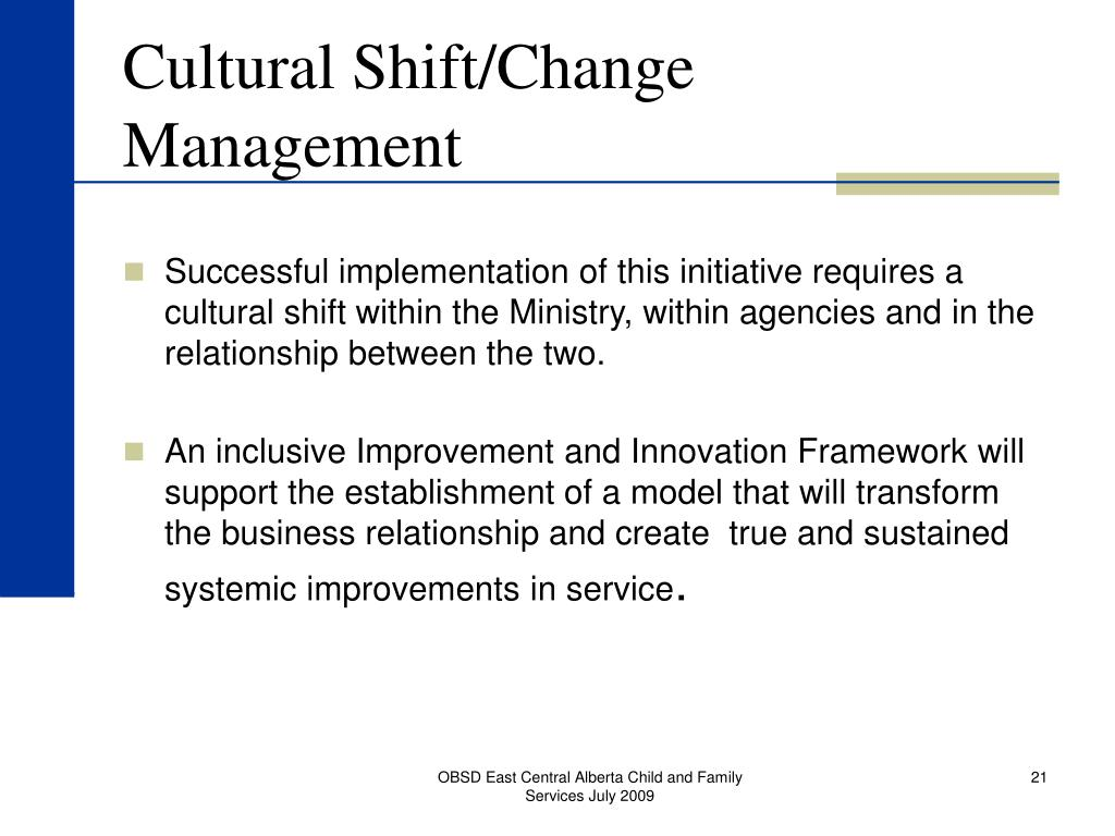 Cultural Shift/Change Management