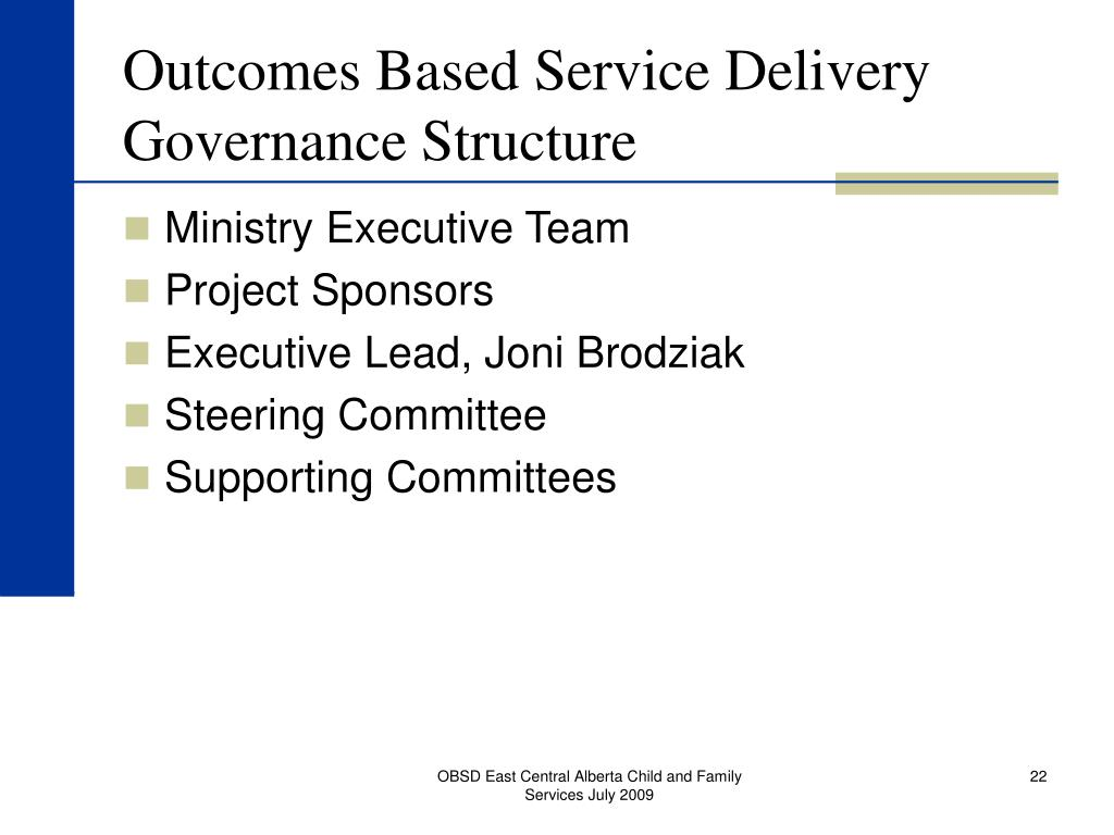 Outcomes Based Service Delivery Governance Structure
