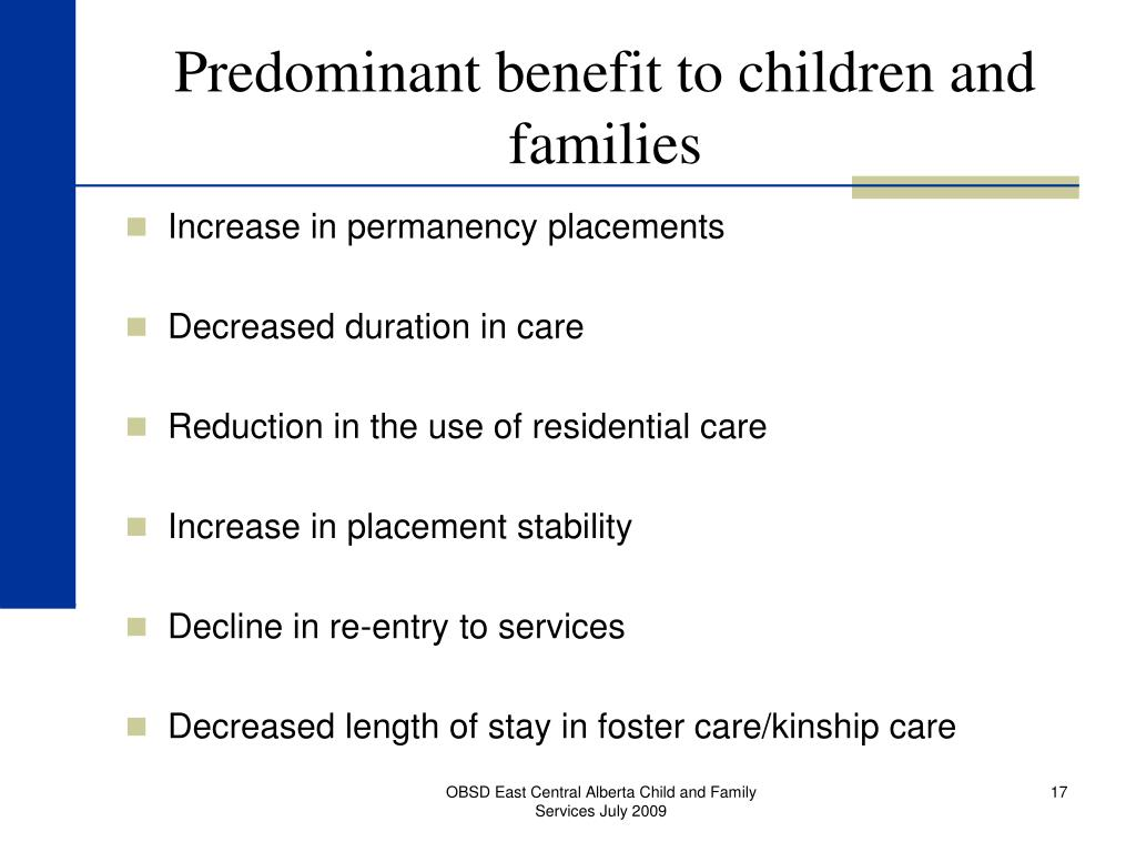 Predominant benefit to children and families