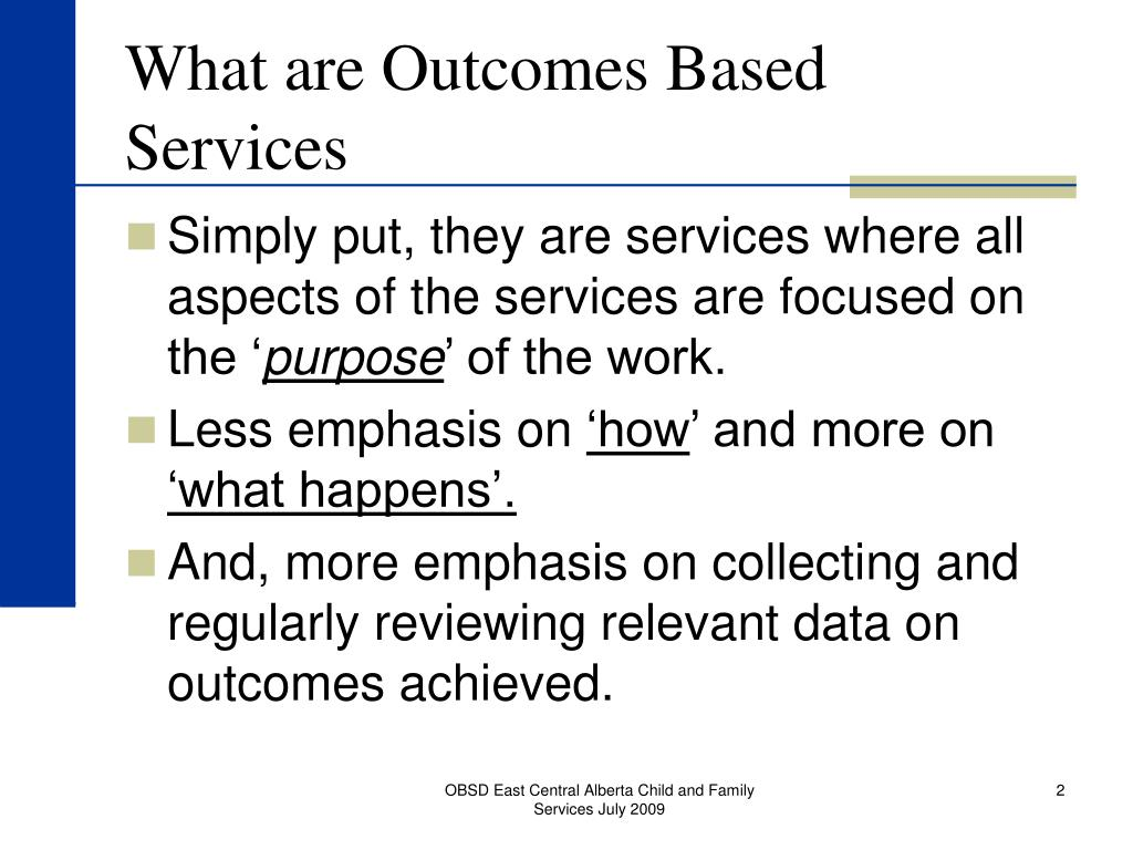 What are Outcomes Based Services