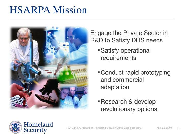 HSARPA Mission