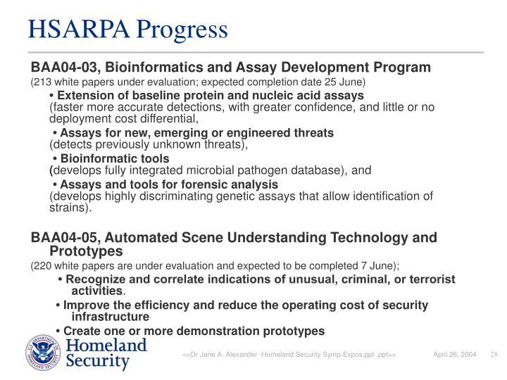 HSARPA Progress