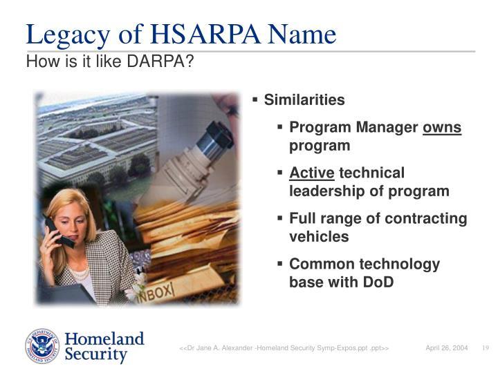 Legacy of HSARPA Name