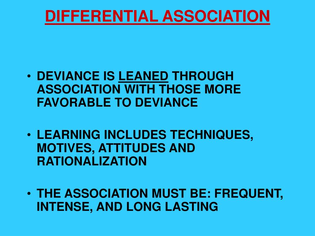 differential association and social bonding theory Is sutherland differential association theory the same perspective as hirschi's social bonding theory.