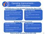 operating improvements 2009 objectives