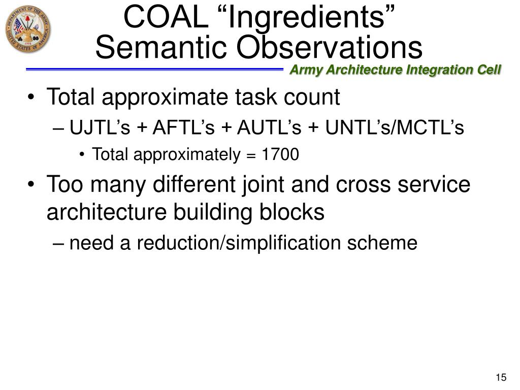 "COAL ""Ingredients"" Semantic Observations"