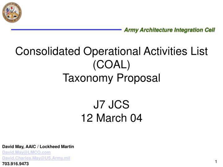 Consolidated operational activities list coal taxonomy proposal j7 jcs 12 march 04