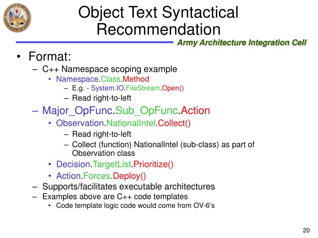 Object Text Syntactical Recommendation