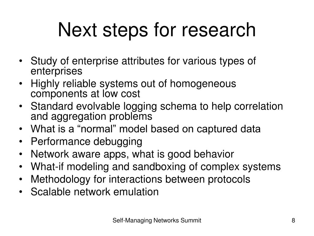 Next steps for research