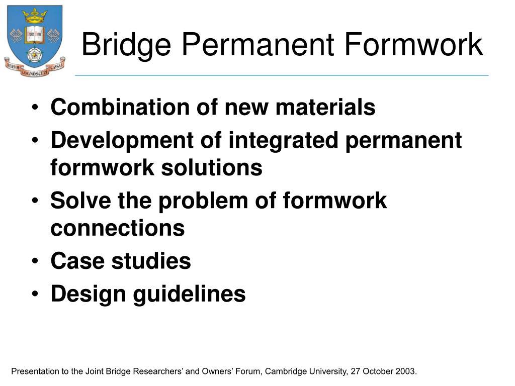 Bridge Permanent Formwork