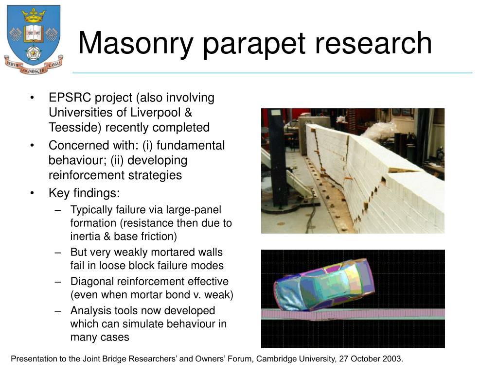 Masonry parapet research