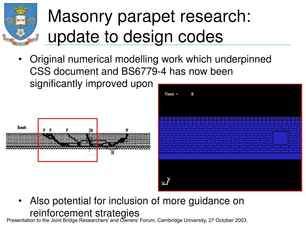 Masonry parapet research: