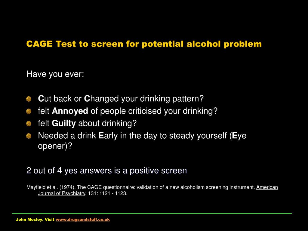CAGE Test to screen for potential alcohol problem